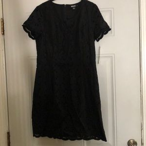 DKNY Black Eyelet Dress NWT Sz 10